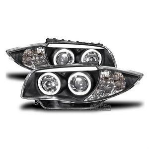 led angel eyes scheinwerfer set schwarz passend f r bmw. Black Bedroom Furniture Sets. Home Design Ideas