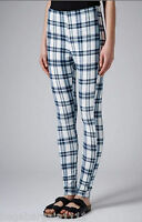 £25 NEW TOPSHOP BLACK WHITE BLUE CHECK TARTAN HIGH WAISTED LEGGINGS SIZE 6 - 16