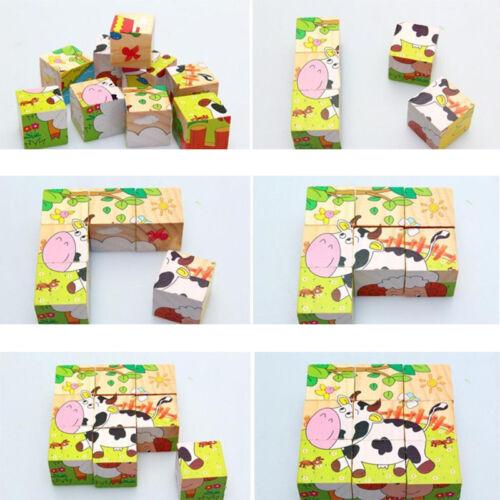 3D Holz Tier Puzzle Bausteine Holzspielzeug Kinder Baby Lernspielzeug Spielzeug
