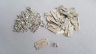 Hinges Silver FREE SCREWS Cupboard Door House Furniture 25x19mm Wood Craft