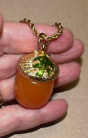 Kenneth Lane Kjl Tortoise Acorn Green Enamel Leaf Pendant Necklace Gold-tone