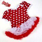 Baby Girls 2 piece outfit,pink short sleeve tutu bodysuit & headband size 00, 0