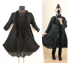 Schwarz 48 50 52 Lagenlook Long Tunika KLEID Hippie Mittelalter Gothic Vintage