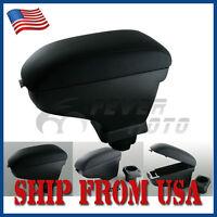 Usa Black Leather Center Console Armrest Storage For Nissan Versa Tiida 07-11 Fm