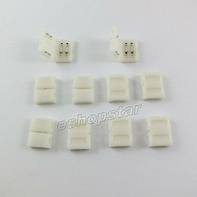 10X Connector Adapter for LED Strip Light 10mm PCB 5050 3528 Single Color