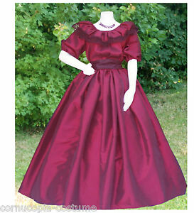 Ladies-American-Civil-War-costume-fancy-dress-3PC-burgundy