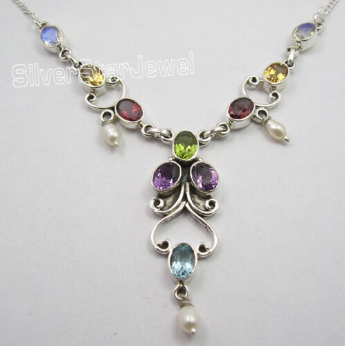 "925 Argent Sterling Authentique MULTISTONES Handcrafted Collier 17 5//8/"" Pouces"