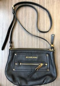 michael kors gilmore leather crossbody bag black pre owned ebay rh ebay com