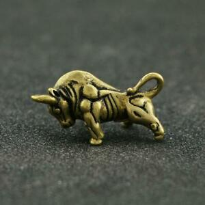Antique-Brass-Bull-Statue-Small-Pendant-Chinese-Zodiac-Pocket-Gift-Collectible