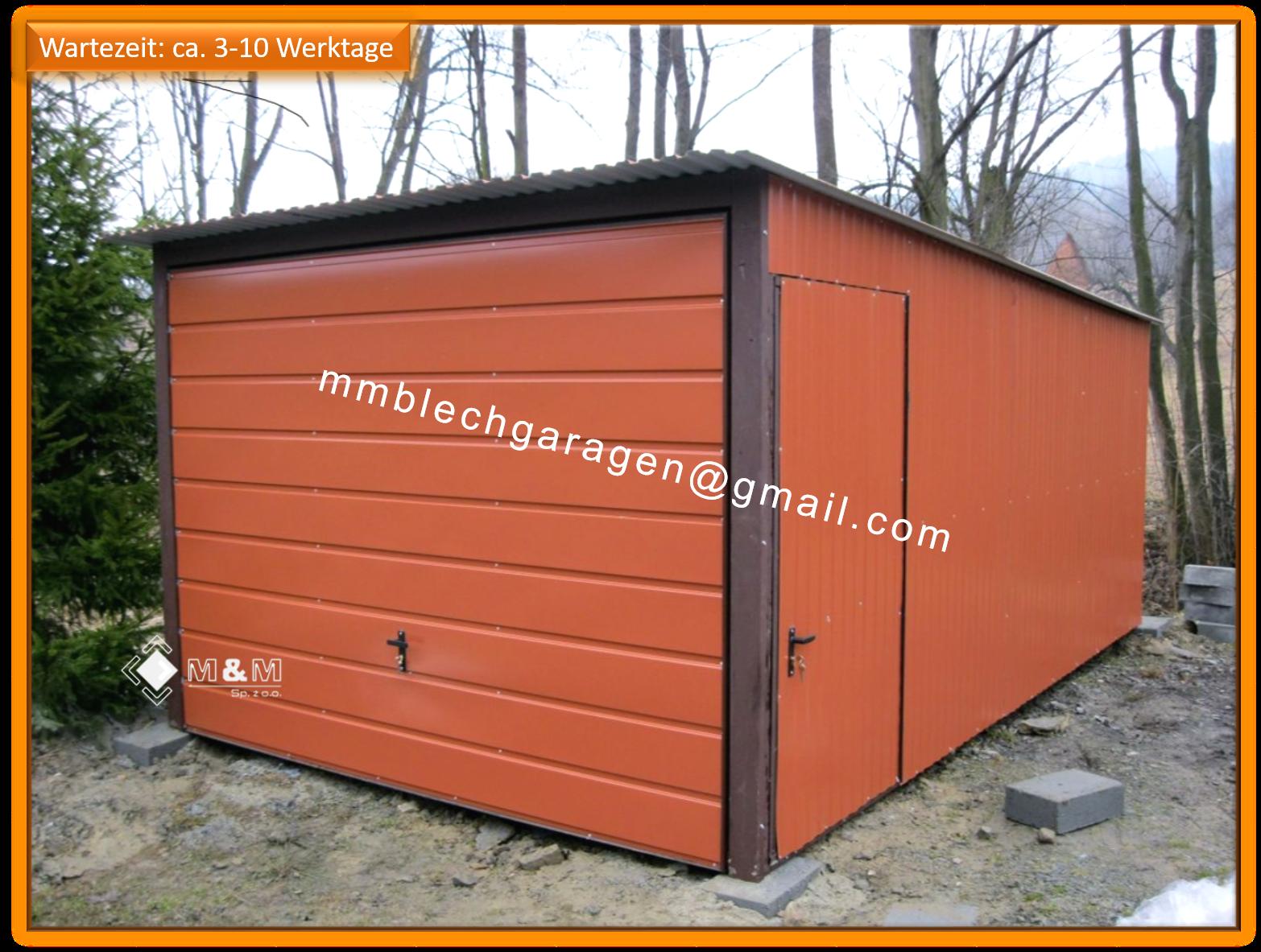 Blechgarage 3x5 RAL8004 KFZ Lager Garage Lager Schuppe Horizontalpanel 1S