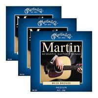 3 Sets Of Martin Model M150 Medium 13-56 Bronze 80/20 Acoustic Guitar Strings on sale