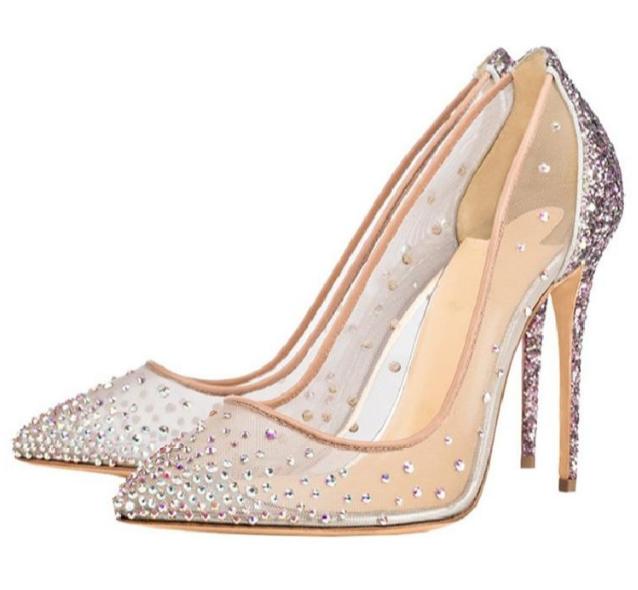 Da Donna Sexy Lady Europeo Strass Paillettes Scarpe A PUNTA PUMPS scarpe da sera
