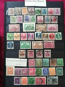GERMAN EMPIRE 1920-22: 52 stamps, MH-used, with good values (see photos)