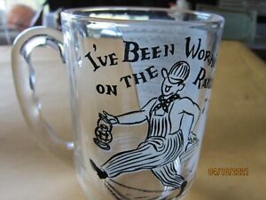 "Vintage 5"" Glass Mug I've Been Workin' on the Railroad w Lyrics Whimsical"