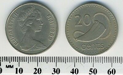 Queen Elizabeth II Tabua Fiji 1969-20 Cents Copper-Nickel Coin