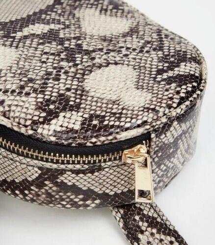 New Look Black Faux Animal Snake Print Round Bum Bag