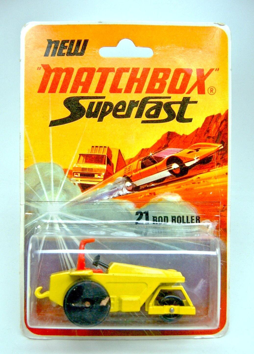 MATCHBOX sf Nº 21b rod roller jaune noire plaque de sol en top BLISTER