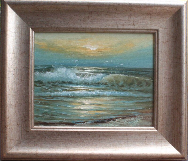 GORGEOUS ORIGINAL OIL PAINTING 'SUNRISE OCEAN' SIGNED & FRAMED - READY TO HANG!