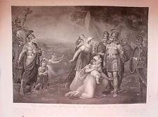 ESTAMPE-GRAVURE-ROMULUS-ROI DE ROME-TATIUS-ROI DES CURES-THOUVENIN-SINGLETON-