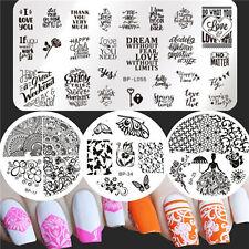 4stk Nagel Kunst Stamping Platte Schablone Schöne Blumen Muster Set Maniküre DIY