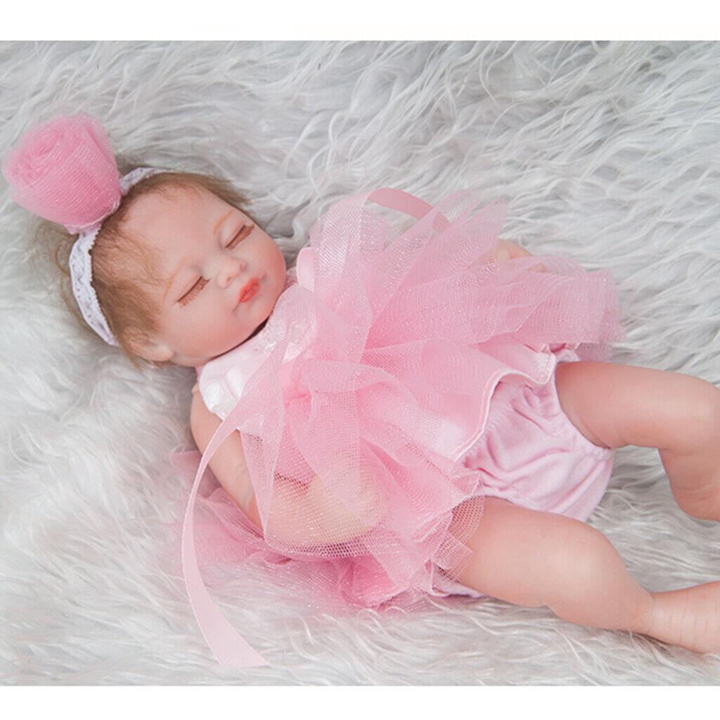 28cm Silicone Mini Reborn Doll Girl Newborn Baby Doll in Pink Dress Headband
