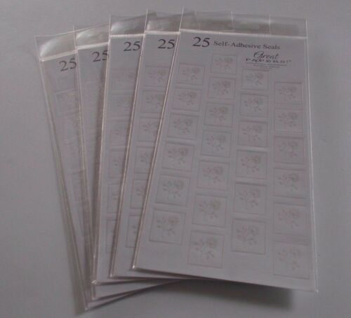 One Sheet of Foil Stationary Seals Stickers White w/ Silver Rose LARGE