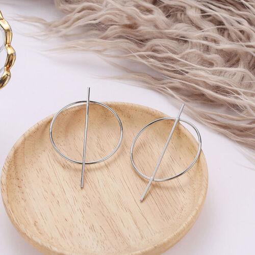 Korean Styles Circle Stick Geometry Earrings Hoop Dangling For Ladies Womens one