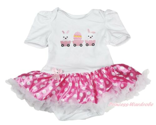 EASTER Pure White Jumpsuit Rabbit EGG  /& Hot Pink White Dot Baby Dress NB-12M