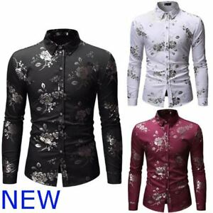 Luxury-Shirt-Dress-Shirts-Mens-Casual-Stylish-Slim-Fit-Long-Sleeve-Floral-Top