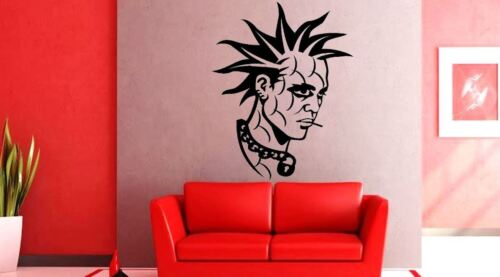 Punk Face Mohican skinhead style Lounge Vinyl wall art Decal Sticker
