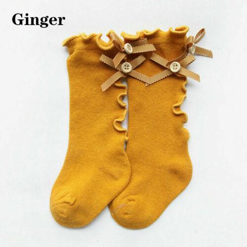 Cute Baby Girls Bowknot Princess Socks Fashion Knee High Long Tube Striped Socks