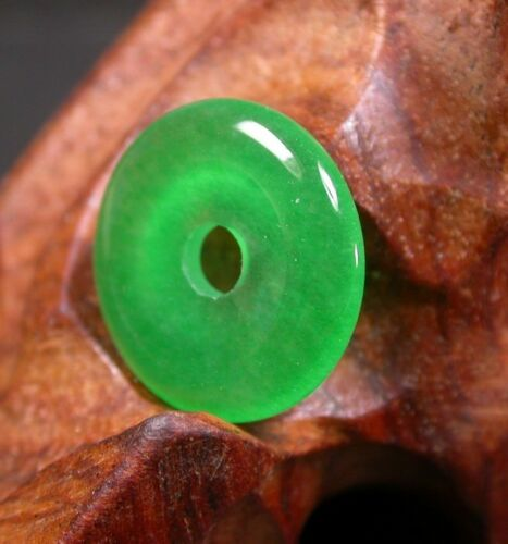 Chinois Icy vert jade Pendentif Cercle Donut Amulet 238526