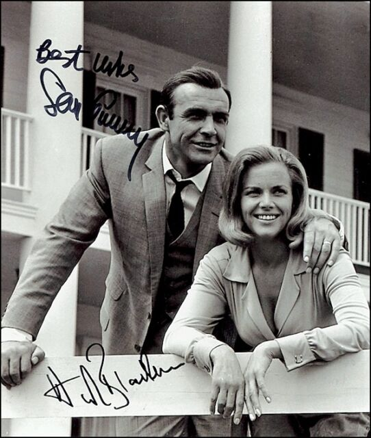 Sean Connery James Bond & Honor Blackman Pussy Galore Signed Photo ...