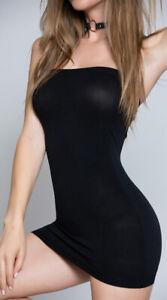 Black Mini Dress strapless opaque fabric Skirt WC25 Women/' Basic Tube Chemise