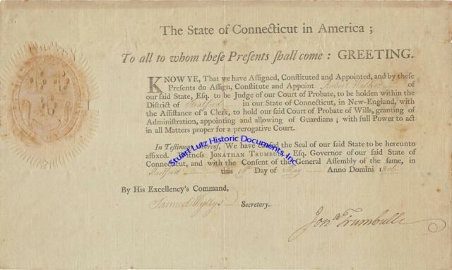 Jonathan Trumbull Jr signed Connecticut commission to be probate judge 1806