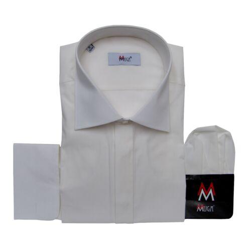 Umschlagmanschetten Hemd+Tuch Muga 43//44 Gr.XL Ivory