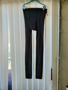 Gold Silver Lurex Shimmer Tights Open Foot Pantyhose Womens Sz S
