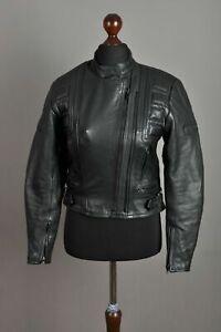 I-Women-039-s-BELSTAFF-Leather-Black-Biker-Jacket-Protect-Jacket-MINT-Size-12