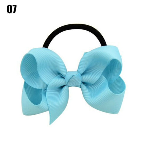 Lovely Baby Kids Girl Ribbon Bow Elastic Rubber Bands Hair Rope Hair Accessories