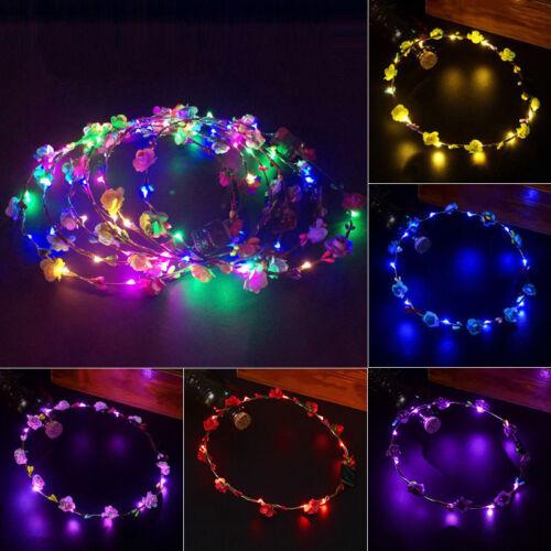 Mariage Fête Fleur Bandeau DEL Light-up Cheveux Couronne Cheveux Band Garland Fashion