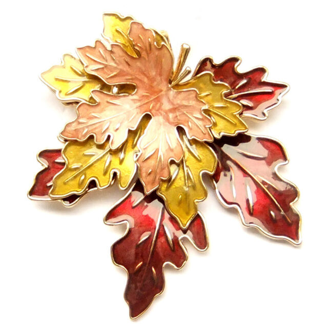 792cf9a44 Brooch Pin Gift Box Maple Autumn Falling Leaves Retro Red Pink Brown Gold  Yellow