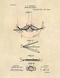 Barber-Mustache-Curler-Vintage-US-Patent-Art-Print-Vintage-Antique-Barber-621