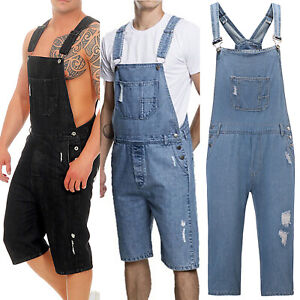 Men Jumpsuits Distressed Denim Carpenter Overalls Bib Biker Jean Shorts Pants US
