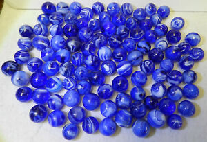 7258m-Vintage-Group-or-Bulk-Lot-of-100-Blue-Glass-Mixed-Company-Slag-Marbles
