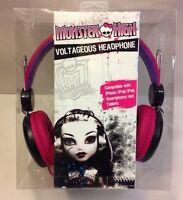 Monster High Over The Ear Voltageous Headphones Headset Black Pink Skullette