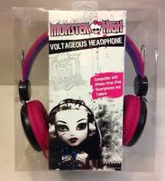 Monster High Over The Ear Voltageous Headphones Headset Black Pink Skullette