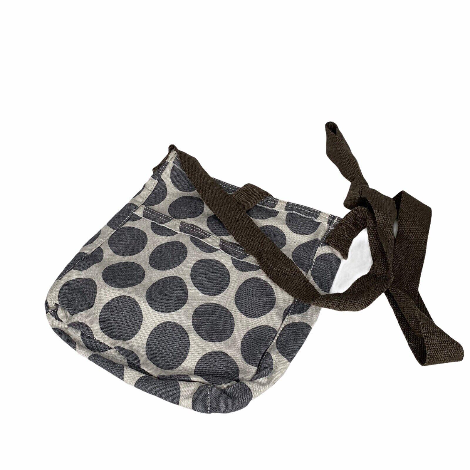 Thirty-One 31 Retro Metro Gray Mod Dot Crossbody Bag Purse Canvas Taupe Strap