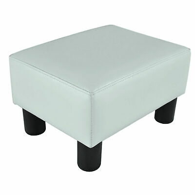 Faux Leather Ottoman Small Seat Footrest Living Room White