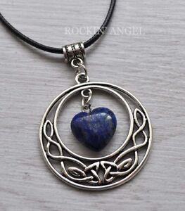 Antique-Silver-Pl-Celtic-Pendant-Lapis-Lazuli-Heart-Necklace-Ladies-GIft-Reiki