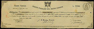 Italien Königreich Debito Pubblico Obligation 20000 Lire Turin 1867 Obbligazione